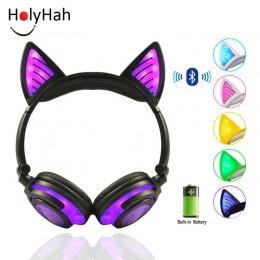 Prezent urodzinowy Holyhah bezprzewodowe słuchawki Bluetooth składane migające ucho kota słuchawki dla dzieci gamingowy zestaw s