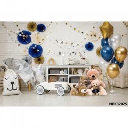 Laeacco Baby balony urodzinowe zabawka samochód niedźwiedzie półki krzesło dziecko fotografia tła fotograficzne tła dla Photo St