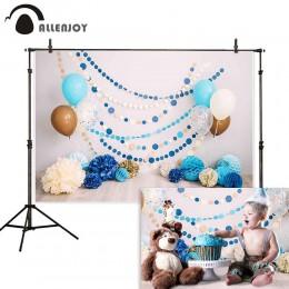 Allenjoy 1st urodziny tło fotografia niebieski smash ciasto balon dziecko strona photocall photophone photozone tło studyjne