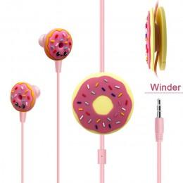 Śliczne pączki słuchawki przewodowe dzieci dzieci muzyka douszne słuchawki Erabuds 3.5mm Jack uniwersalny dla iPhone Xiaomi Sams