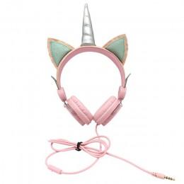 Kids Girl Unicorn słuchawki z mikrofonem 3.5mm Jack słuchawki przewodowe komputer stancjonarny telefon muzyka Gaming zestaw słuc