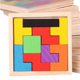 Montessori drewniane zabawki edukacyjne dla dzieci matematyka wczesna nauka Tangram-Teaser obraz na płótnie puzzle drewniane gra