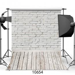 Biała cegła tła do zdjęć ściennych drewniane podłogi tła dla zwierząt domowych Studio fotograficzne Baby Shower noworodka dzieci