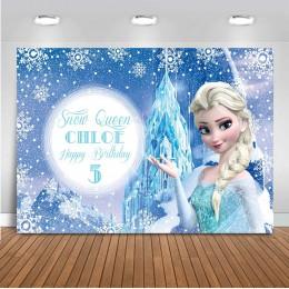 Neoback Cartoon mrożone Elsa księżniczka fotografia tło Photocall dla dzieci BithdayParty tła zdjęcie dzieci Studio dostosować