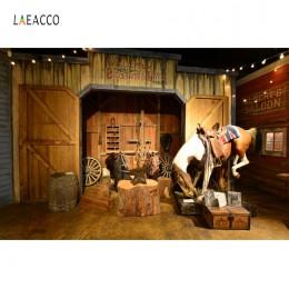 Tło Saloon Laeacco stare drewniane stodoła koń zachodni kowboj USA dziecko impreza dla dzieci fotografia portretowa tło dla Phot