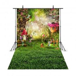 Wiosenna sceneria tło pisanka użytki zielone bajka las dzieci noworodka grzyby elfy kwiaty zdjęcie tło 206