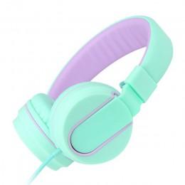 I35 przewodowy słuchawki dla dzieci składany regulowany Słuchawki przewodowe różowy z 3.5mm Audio Jack i mikrofon dla dzieci dla