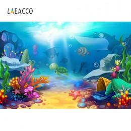 Laeacco morze ryby tła koral powłoki podwodne dziecko urodziny dziecko plakat zdjęcie tła Photocall Photo Studio