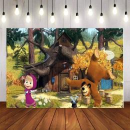 Fotografia tło kreskówka masza i niedźwiedź winylu urodziny dziecka strona dziecko las wystrój Photocall zdjęcie tła Studio