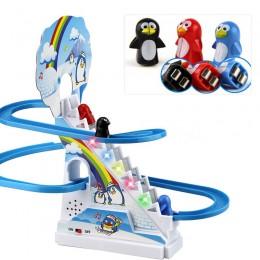Puzzle Penguin Slide elektryczna kolejka z muzyką z zabawki muzyczne schodki do wchodzenia zabawki interakcja rodzic-dziecko zab
