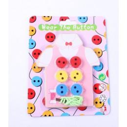 Zabawki montessori drewniane zabawki edukacyjne dla dzieci wczesne nauczanie koraliki sznurowanie deska maluch przyszywane guzik