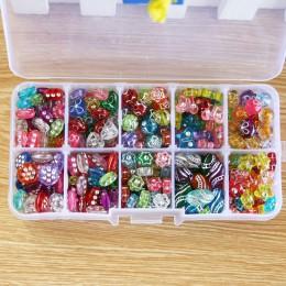 1 zestaw 10 gniazd około 320 szt. Plastikowy zestaw akrylowy mieszane kolory Spacer koraliki z pudełkiem dla dzieci pasuje ręczn