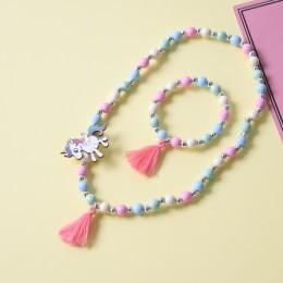 Śliczny jednorożec kreskówka kwiat dziecięcy naszyjnik sweter bransoletka dla dzieci prezent cp2649