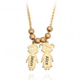 HOT 2019 spersonalizowane dzieci naszyjnik Custom Made dowolną nazwą dla ojca matki i dzieci prezenty rodzinne złoty kolor srebr