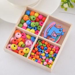 FUNIQUE 1Box Multicolor drewniane zroszony Box Smile DIY biżuteria prezent dla naszyjnik dziecięcy bransoletka tworzenia biżuter