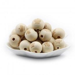JHNBY 10 sztuk/partia 20mm okrągłe koraliki z naturalnego drewna uśmiechnięta twarz serce gwiazda dziecko gryzak dziecko ząbkowa