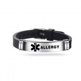 Męski alarm medyczny ID silikonowa bransoletka ICE bransoletki nadgarstek regulowana długość dla mężczyzn kobiety dziecko biżute