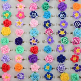 CHIC sprzedaż hurtowa 10 sztuk kolorowy kwiat róży glina polimerowa dzieci pierścienie regulowany rozmiar dla dzieci prezent Dro