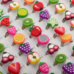 Sprzedaż hurtowa 10 sztuk mieszane kolory dzieci słodkie owoce kształt Cartoon pierścienie biżuteria wysłać losowo dla dzieci na