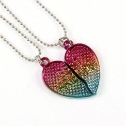 2 sztuk/zestaw Best Friends Forever BFF naszyjnik łańcuch miłość wisiorek w kształcie serca urok gradientu epoksydowe brokat szk