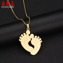 Auxauxme ze stali nierdzewnej dostosowane Cute Baby Feet naszyjnik grawerowane nazwa data ID naszyjnik dla mama dziecko urodziny