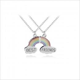2 sztuk/zestaw moda najlepszy przyjaciel szwy naszyjnik Rainbow Broken naszyjnik w kształcie serca kobiet dzieci BFF dar przyjaź