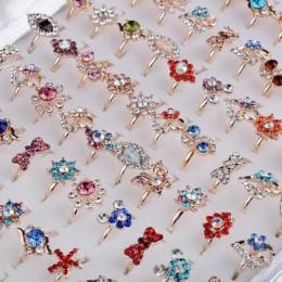 10 sztuk mieszany styl łuk kształt kwiatu biżuteria wiele kolorowy kryształ Rhinestone Kid dzieci pierścienie dla kobiet dziewcz