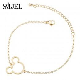 SMJEL śliczne Hollow Mickey bransoletki z wisiorkiem dla kobiet Link Chain Animal Mouse bransoletki biżuteria dla dzieci prezent