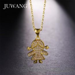 JUWANG ładna dziewczyna rysunek kształt wisiorek naszyjniki dla dziewczyn kobiet złoty/srebrny/Rose kolorowy naszyjnik dzieci 92