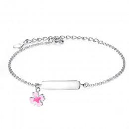FOREWE darmowe grawerowanie bransoletka z imieniem spersonalizowana bransoletka dla dzieci dziewczynki 925 srebro bransoletka de