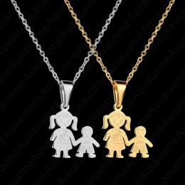 Auxauxme rodzina miłość mama i tata syn córka naszyjnik ze stali nierdzewnej wykonane na zamówienie w dowolnym nazwa dla dzieci