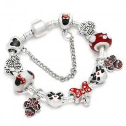 Sonykifa Handmade Mickey & Minnie szkło murano wisiorek z koralikami bransoletka kobiety Fit wąż łańcuch bransoletka dla dzieci