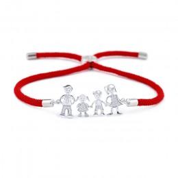 Urocza mama i tata i chłopiec/dziewczyna rodzina Charm bransoletka dla kobiet mężczyzn dzieci szczęście czerwony sznurek bransol