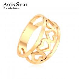 Modna biżuteria serce gwiazda księżyc Top 316L ze stali nierdzewnej pierścień złote pierścienie zestaw dla kobiet mężczyzn dziew