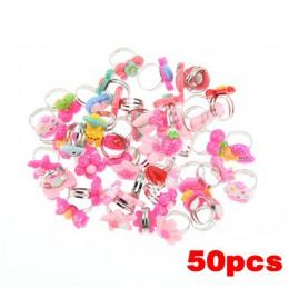 50 sztuk dużo luzem mieszane metalowe dzieci dzieci chłopcy dziewczęta Cartoon zwierząt kwiaty owocowe pierścienie LL @ 17