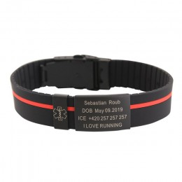 Spersonalizowane niestandardowe dziecko dzieci SOS ID bezpieczeństwa nadgarstek czarny bransoletka dla dzieci dziecko grawerowan