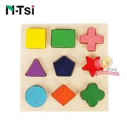 N-tsi drewniane figury geometryczne sortowanie matematyka Montessori Puzzle przedszkole nauka gra edukacyjna zabawki dla malucha