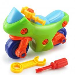 Wczesna nauka edukacja DIY nakrętka śruby grupa zainstalowane plastikowe Puzzle 3d demontaż motocykl dzieci zabawki dla dzieci J
