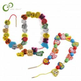 26 sztuk/zestaw drewniane Animal Fruit Block stringing zroszony zabawki dla dzieci nauka i edukacja kolorowe produkty zabawki dl