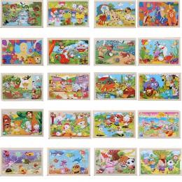 Wysokiej jakości 22.5*15 cm drewniane duże 24 cartoon zwierząt puzzle dla dzieci drewniane zabawki edukacyjne dziewczyna chłopie
