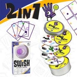 Gra logiczna Swish-zabawa przejrzysta edukacja gra w karty logiczne gry dla dzieci karty do gry spot board zabawki do gry dla dz