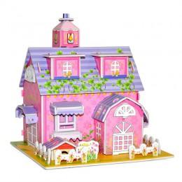 3D układanka do samodzielnego złożenia zamek montaż Model domek w stylu kreskówki papierowa zabawka dzieciak wczesna nauka wzór