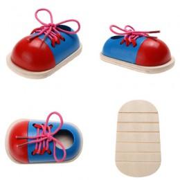 Montessori Learning edukacyjne zabawki na drewniane zabawki dla dzieci sznurowane buty kreatywne puzzle gry drewniane puzzle pop