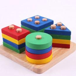 Zabawki dla dzieci edukacyjne drewniane geometryczne sortowanie pokładzie Montessori zabawki edukacyjne dla dzieci budowanie Puz