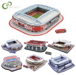 DIY 3D układanka świata w piłce nożnej stadion europejskiej piłki nożnej, plac zabaw dla dzieci zmontowane model budynku Puzzle