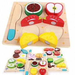 6 stylów dzieci cięcie drewna owoce warzywa deser Puzzle zabawki kuchenne dzieci udawaj zagraj w gotowanie zabawki edukacyjne