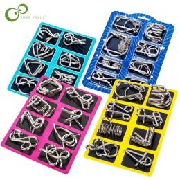 8 sztuk/zestaw materiały Metal Montessori Puzzle drut IQ umysł łamigłówka Puzzle dla dzieci dorośli zabawka antystresowa zabawki