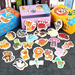 Gra Montessori wczesna edukacja zabawki Montessori Puzzle karta kreskówka ruch zwierząt owoce para pasujące zabawki do gier dla