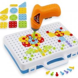 Zabawki dla dzieci wiertarka elektryczna nakrętka demontaż dopasuj narzędzie zestaw klocków klocki edukacyjne zestaw zabawek dla