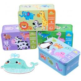 Nowe drewniane Puzzle dla dzieci wczesne zabawki edukacyjne dla dzieci Puzzle z drewna dla zwierząt Puzzle z sześcio-w-jednym za